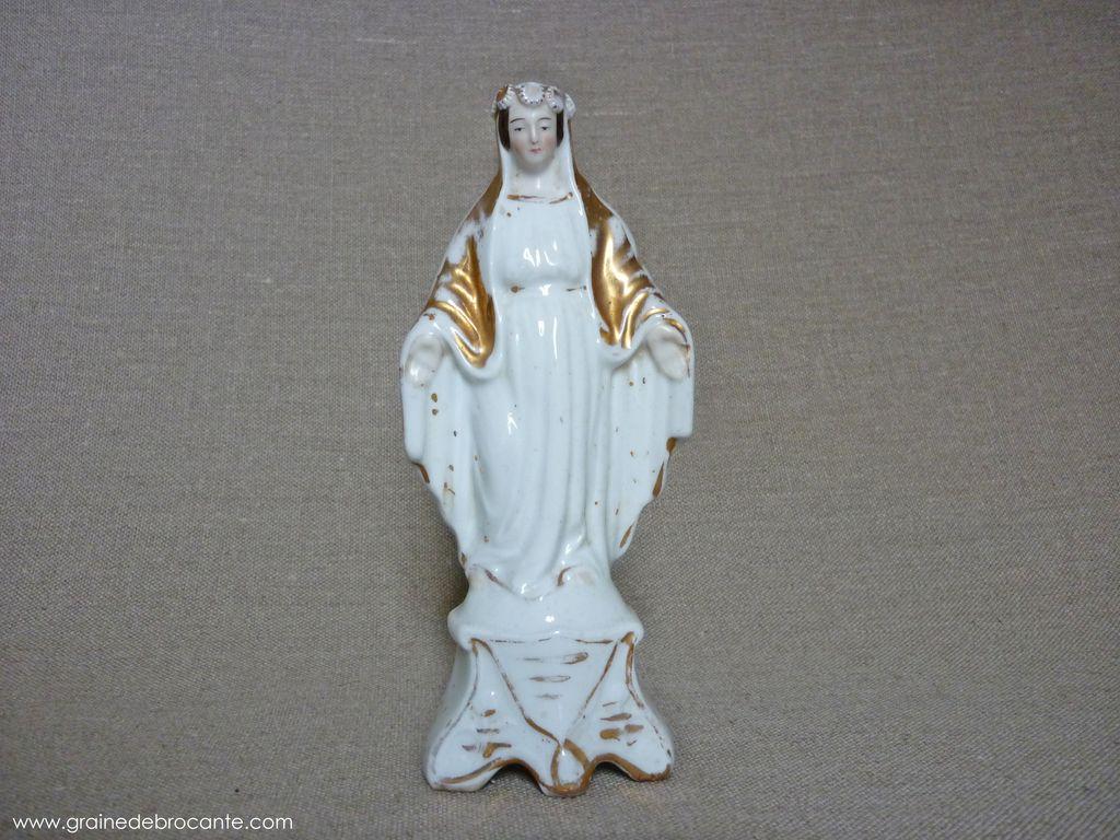 ANCIENNE statue catholique la Vierge et lEnfant Art