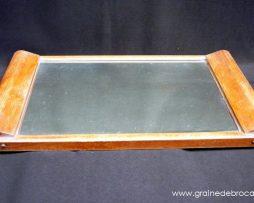 plateau bois et miroir vintage