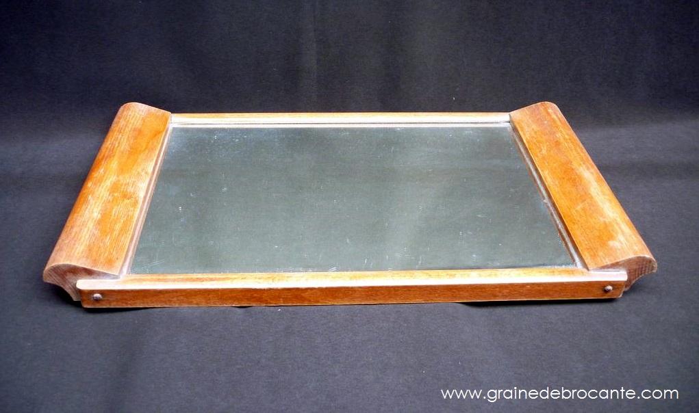 plateau en bois avec miroir ann es 40. Black Bedroom Furniture Sets. Home Design Ideas