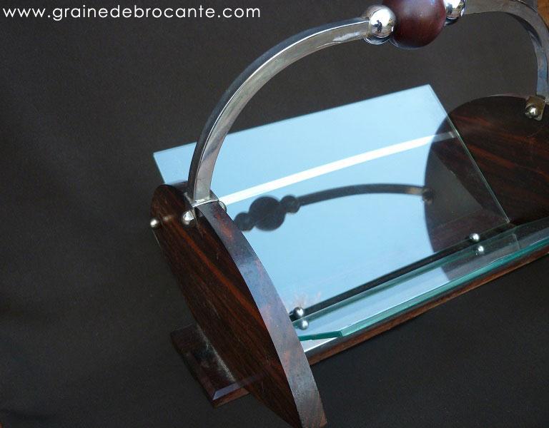 corbeille vide poche art d co en verre et bois. Black Bedroom Furniture Sets. Home Design Ideas