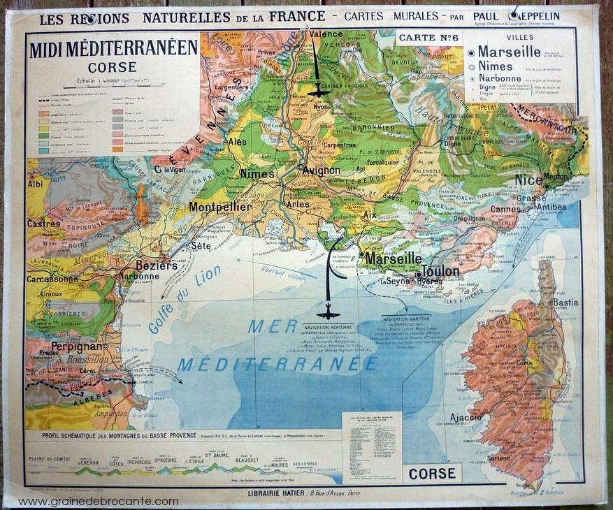 Carte France Région naturelle N°6 MIDI MÉDITERRANÉEN CORSE