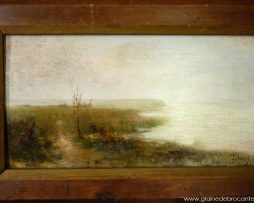 peinture paysage bord de mer début XXème