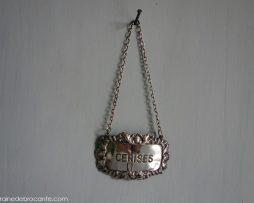 plaque en métal argenté pour bouteille eau de vie