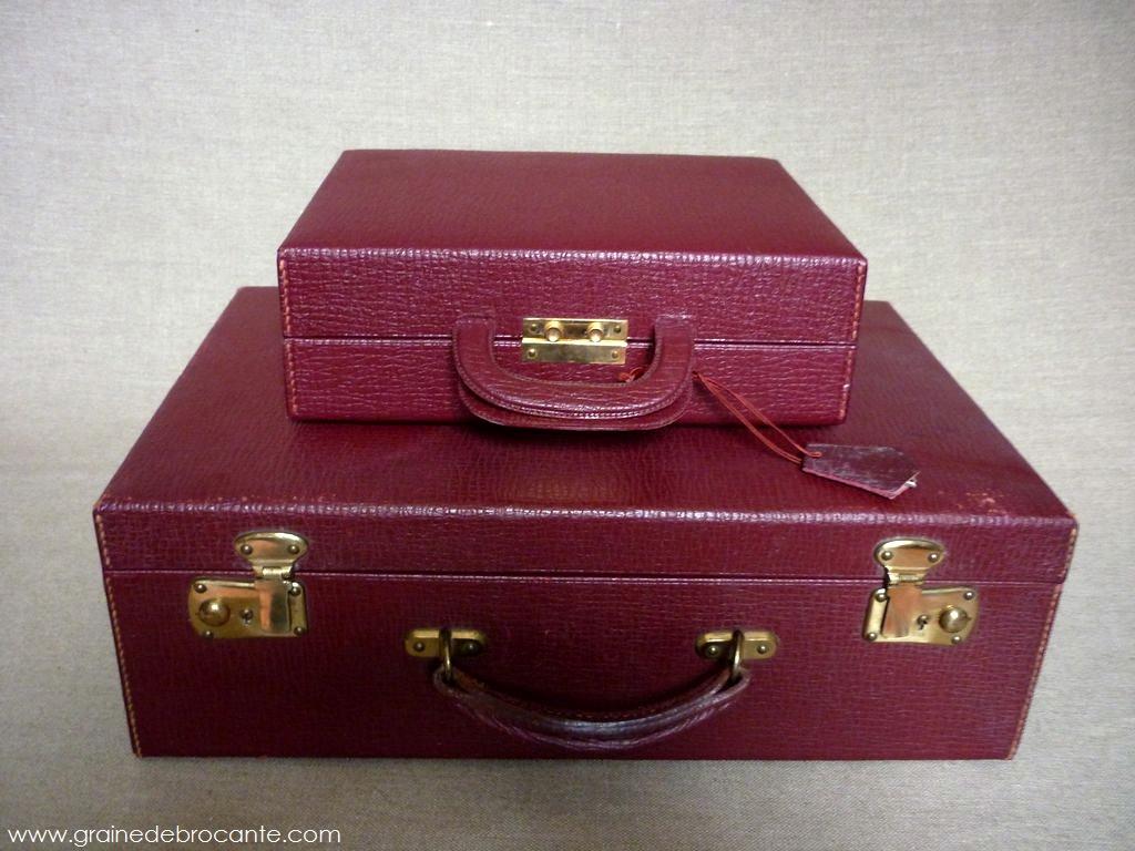 valise en cuir et sa vanity case ann es 60. Black Bedroom Furniture Sets. Home Design Ideas