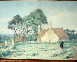 Peinture de 1936 signée Burlet représentant la chapelle Saint Golgon près de Trégastel