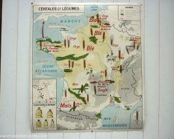 """Carte scolaire de 1960 Editions MDI """"Céréales et légumes"""""""