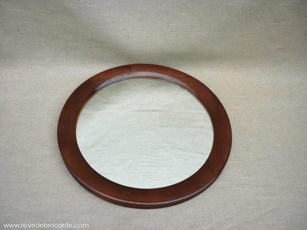Miroir rond en bois r ve de brocante for Miroir rond bois