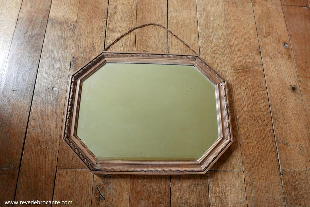 Miroir en bois octogonal r ve de brocante for Miroir octogonal