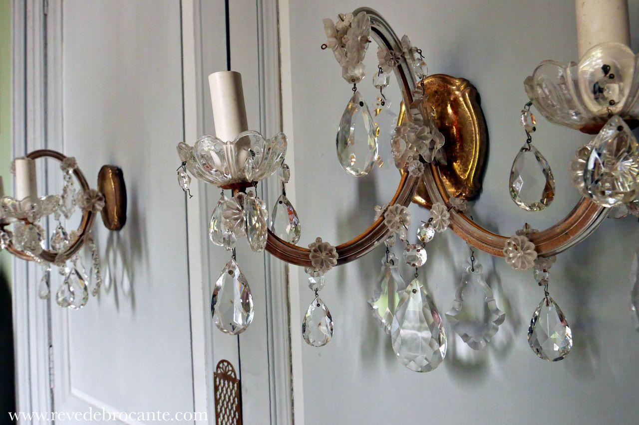 paire d 39 appliques ann es 50 avec pampilles en cristal r ve de brocante. Black Bedroom Furniture Sets. Home Design Ideas