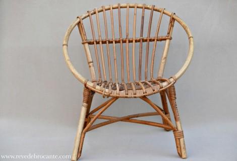 fauteuil vintage d 39 enfant en osier r ve de brocante. Black Bedroom Furniture Sets. Home Design Ideas