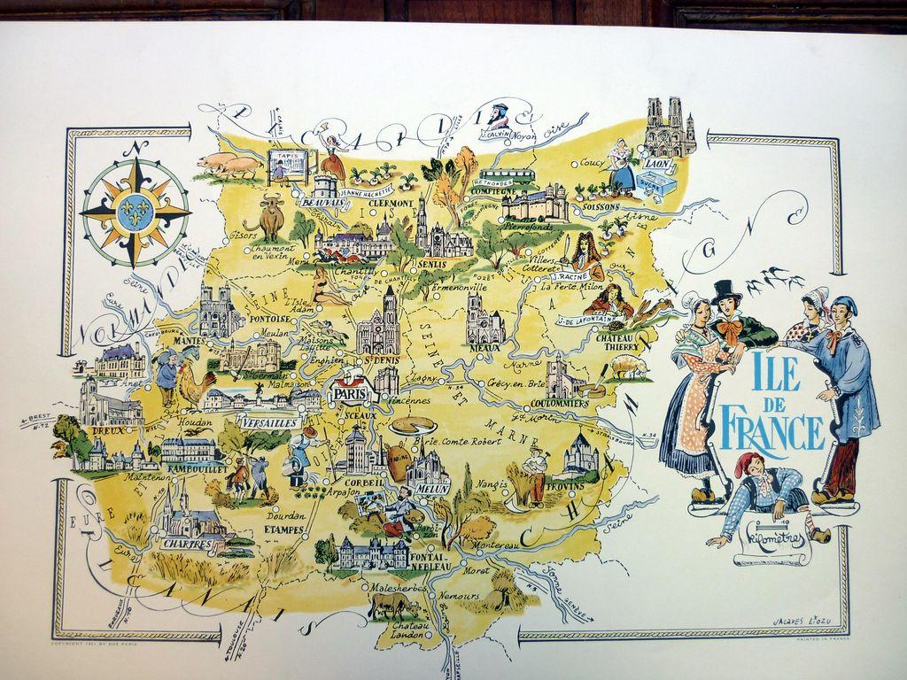 Carte de l'Ile de France dessinée par Jacques Liozu - Rêve de Brocante
