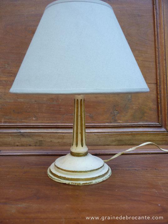 Pied De Lampe Ancien En Bois Peint