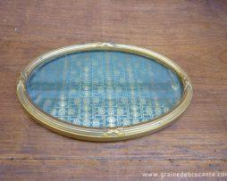 Petit cadre ovale en bois doré