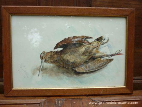Aquarelle d'une bécasse, signée Lusseau