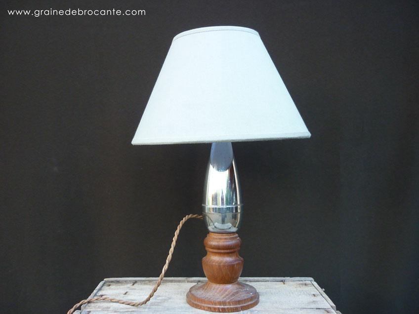 pied de lampe ann es 40 en bois et m tal. Black Bedroom Furniture Sets. Home Design Ideas