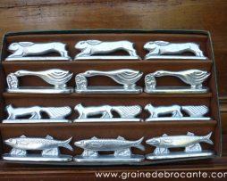 Porte couteaux, aluminium, art déco