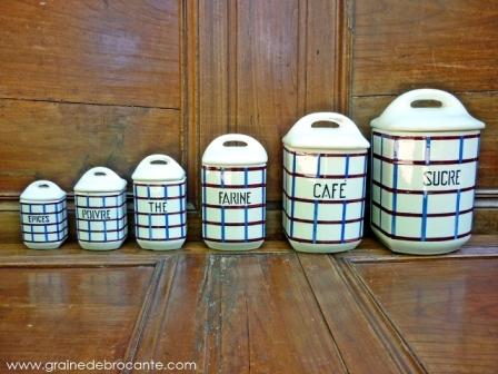 Serie 6 pots anciens à épices