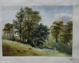 aquarelle campagne anglaise 19 ème