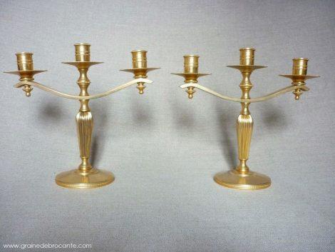 bougeoirs années 50 métal doré