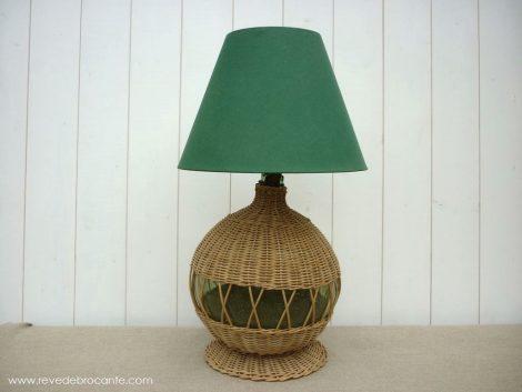 lampe dame jeanne osier vintage