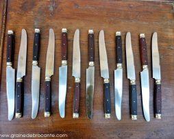 12 couteaux bois et acier anciens
