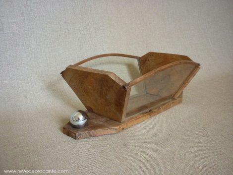 vide poche art deco en bois et metal