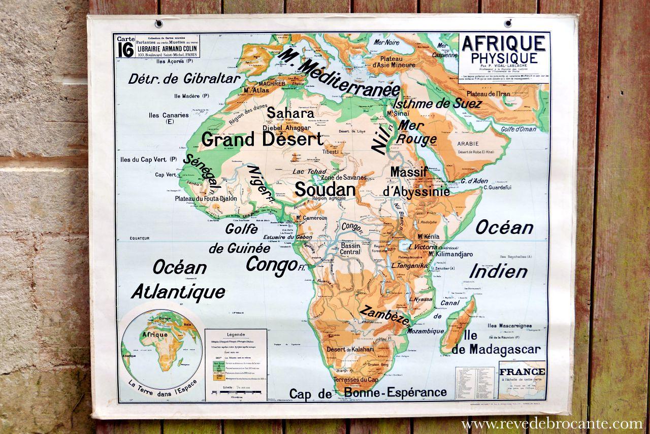 Carte scolaire vidal lablache n 16 l 39 afrique physique - Carte scolaire ancienne ...