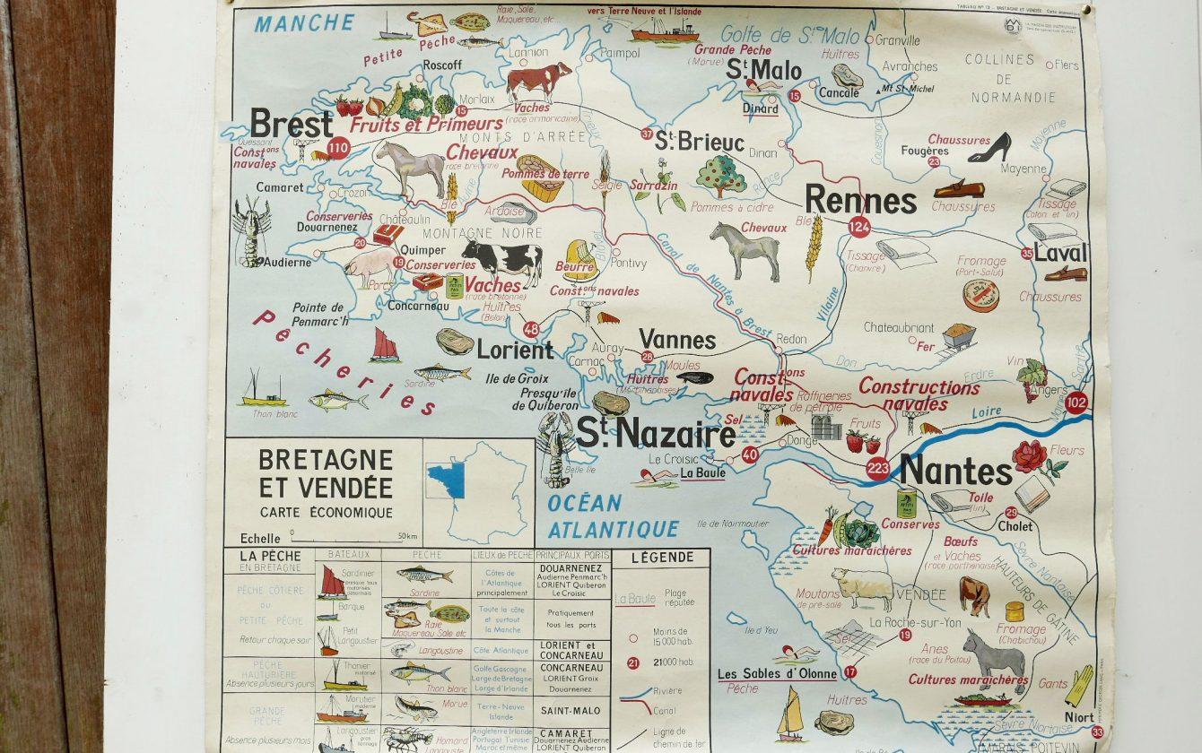 Carte Bretagne Vendee.Carte Scolaire De 1960 Editions Mdi Cereales Et Legumes N 8